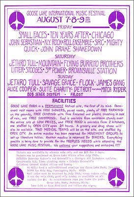 ALICE COOPER STOOGES IGGY POP JAMES GANG 1970 Goose Lake Festival Concert Poster