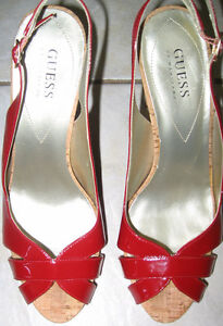 GUESS RED PATENT CORK HEELS, SIZE 9