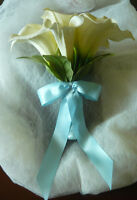 Light Sea Blue & White Calla Lily Wedding Bouquet Flowers.