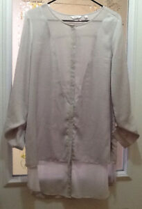 grey REITMANS buttoned front shirt size L $10; & OTHER TOPS
