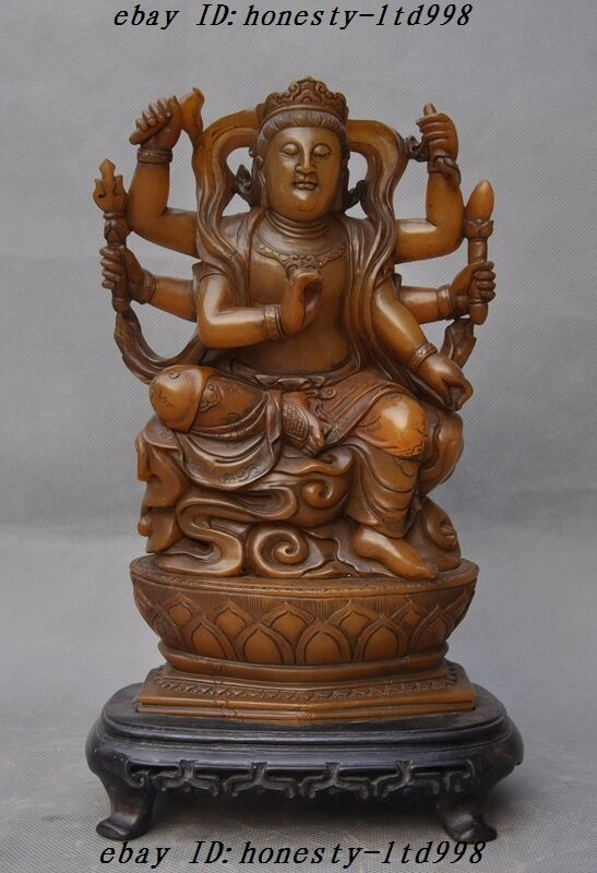 """11""""old Tibet Temple Shoushan Stone Carved 6 Arms Guanyin Kwan-yin Goddess Statue"""