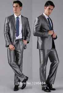 Men's shiny grey suit