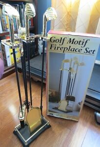 GOLF MOTIF FIREPLACE ACCESSORIES SET