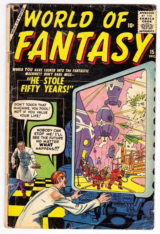 WORLD OF FANTASY #15 - December 1958 - Jack Kirby cover - Very Good condition