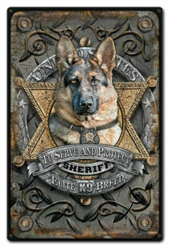 "UNITED STATES SHERIFF K9 POLICE DOG BREED 18"" HEAVY DUTY USA MADE METAL SIGN"