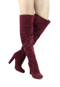 BURGUNDY SUEDE WOMEN'S THIGH-HIGH  LACE-UP BOOTS
