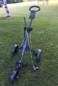 Golf Medicus driver and Cadie pull cart for sale