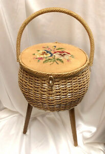 Vintage Old Dritz Sewing Basket on 3 Wooden Legs