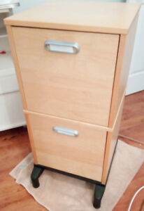 Ikea 2 drawer maple color filing cabinet with hanging folders