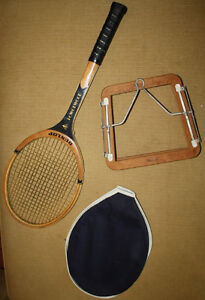 Dunlop Powerwood Tennis Racquet, with Cover and Vintage Press