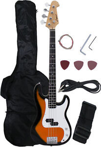 NEW Crescent SUNBURST Electric Bass Guitar + Strap Amp-Cord Gigbag