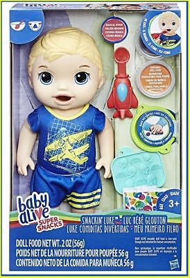 "Baby Alive Super Snacks Snackin' Luke Baby Doll Boy (Blonde) 15"" NEW Airplane  for sale  Columbus"