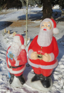VINTAGE LIGHT UP OUTDOOR  Santa Claus BIG ONE and a SMALL ONE