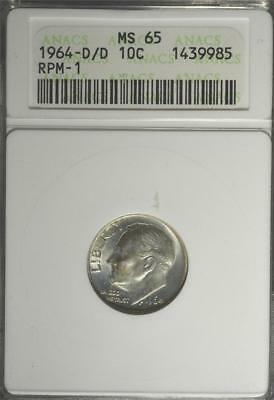 1964-D/D MS65 Mint ERROR RPM-1 Roosevelt Dime Old 90% Silver Coin 985 Ships FREE
