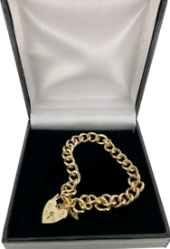925 Sterling silver 9ct gold plated heart padlock bracelet