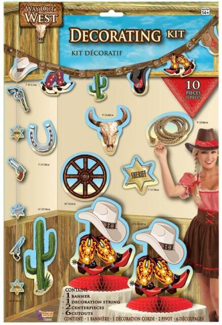 DECORATION KIT 10 PC COWBOY RODEO BARN DANCE WESTERN PARTY DECORATIONS TABLEWARE