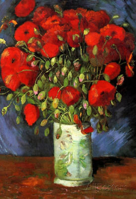 Vincent Van Gogh Vase with Red Poppies Art Print Poster - 13x19