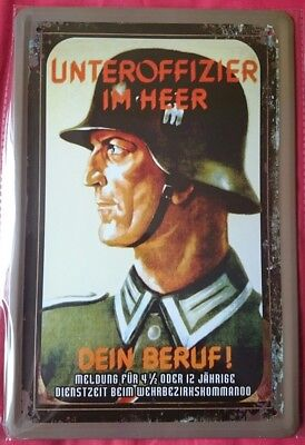 Blechschild 20x30 Wehrmacht Unteroffizier Soldat Weltkrieg Deutsches Reich