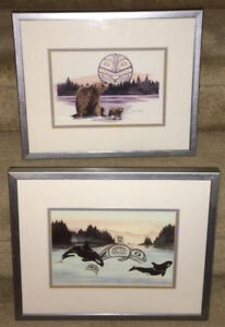 PAIR OF SUE COLEMAN PRINT BEARS/WHALES