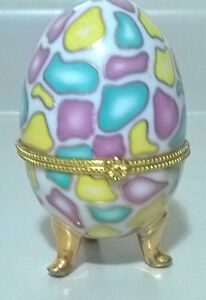 Vintage Porcelain Egg White With Purple, Turquoise & Yellow