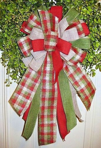 HANDMADE CHRISTMAS BOW WIRED RIBBON for HOLIDAY WREATH LANTERN GARLAND # 39 fl