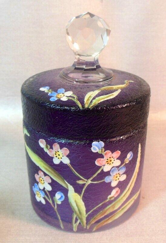 Antique Art Acid Cut Back Glass TRINKET BOX VANITY JAR  Amethyst Purple Flowers