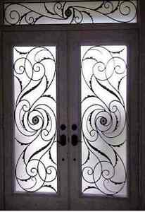 Door Glass  Stained glass wrought iron inserts