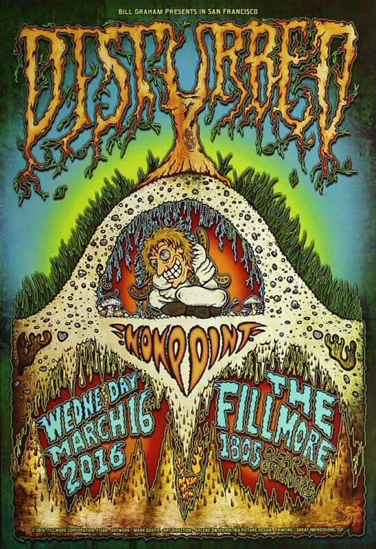 Disturbed Nonpoint Fillmore San Francisco 3/16/2016 Poster Mark DeVito F1400