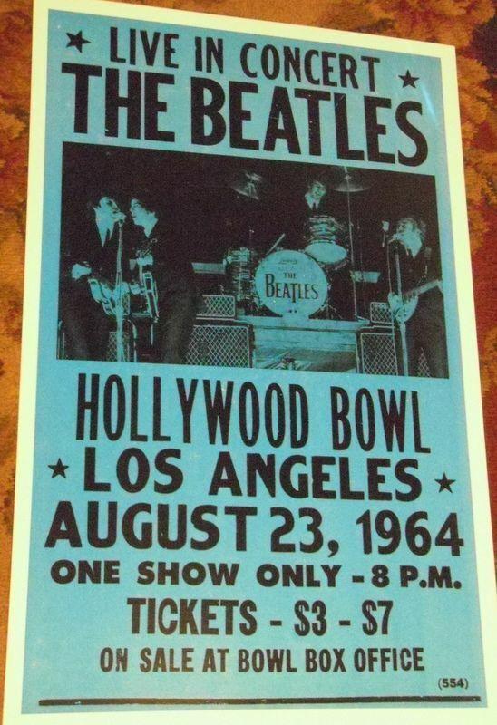 THE BEATLES HOLLYWOOD BOWL LA 1964 60S  CONCERT POSTER california John Lennon +3