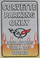 Corvette Parking Only Metal Sign