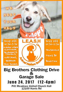 LEASH DOG RESCUE GARAGE SALE AND CLOTHING DRIVE
