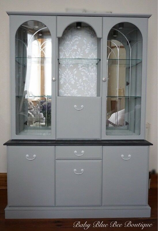 Grey Large Vintage Welsh Dresser Display Cabinet Silver White Shabby Chic