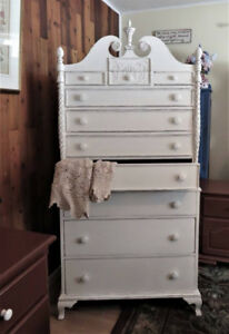 Gorgeous Creamy White Shabby Chic Antique 10-Drawer Dresser