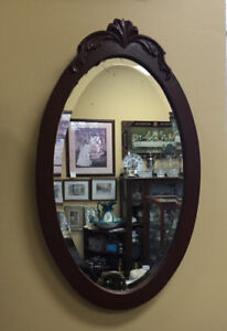 ANTIQUE Oval Wall MIRROR Bevelled Glass Solid Wood Vintage