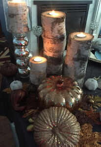Real solid Birch pilar candle sets- Tall and short/ gorgeous! London Ontario image 1