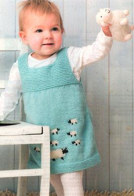 Baby Sleeveless Dress Pinafore Sheep Motif 0 - 24 mths  DK Knitting Pattern