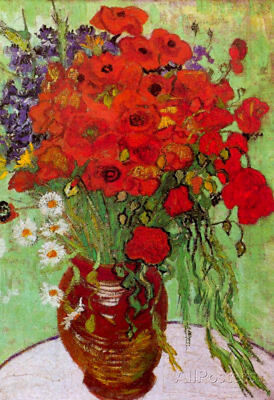 Vincent Van Gogh Still Life Red Poppies and Daisies Art Print Poster - 13x19