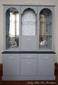 Vintage Grey Welsh Dresser Display Cabinet Unit Large Shabby Chic White Silver