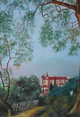 A Monastery in the Mountains Oil Painting M. Hewitt c2000 British School Framed