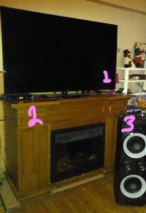 TV, MANTLE  &SOUND SYSTEM