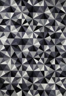 RRP. $895 New Jewel Grey Black White Plush NZ Wool Mosaic Rugs