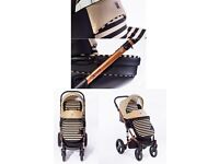 Brand New STARS Pushchair 3 in 1 eco leather + car seat + free accessories