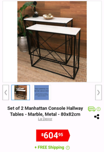 Marble hallway tables /console nesting