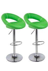 2 green bar stools