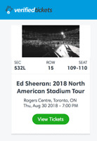 Ed Sheeran Toronto Tickets for August 30th