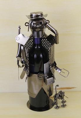 Hunter with Dog Metal Polished Wine Holder Handmade Art Sculpture Bar Accessory