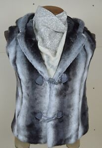 Cute Olympia Faux Fur Chinchilla Vest with Hood