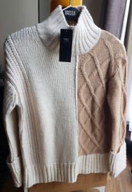 Marks & Spencer Camel Mix Cable Knit Turtle Neck Jumper Size XS BNWT