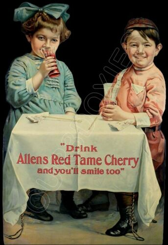 1910 Allens Red Tame Cherry Die Cut Store Counter Standup Sign Boy Girl Repro