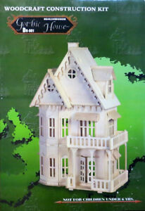 Gothic Victorian Gingerbread Doll House 3D Wooden Puzzle open